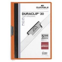Dossier en pvc con clip duraclip durable en formato din a-4 para 30 hojas en color naranja.