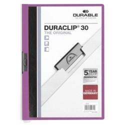 Dossier en pvc con clip duraclip durable en formato din a-4 para 30 hojas en color lila.