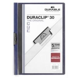Dossier en pvc con clip duraclip durable en formato din a-4 para 30 hojas en color azul antracita.
