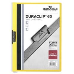 Dossier en pvc con clip duraclip durable en formato din a-4 para 60 hojas en color amarillo.