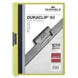 Dossier en pvc con clip duraclip durable en formato din a-4 para 60 hojas en color verde claro.