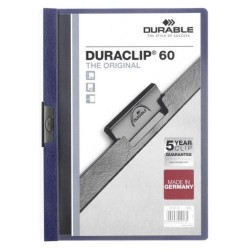 Dossier en pvc con clip duraclip durable en formato din a-4 para 60 hojas en color azul antracita.