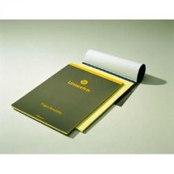Block de notas uniextra cubierta gris/amarilla en din a-4 con rayado horizontal de 50 hojas amarillas.