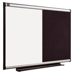 Tablero de anuncios combinado pizarra blanca - tapizado negro con marco de aluminio nobo prestige de 60x90 cm.