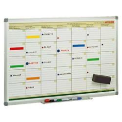 Planning mensual de acero lacado blanco con marco de aluminio faibo en formato 60x90 cm.