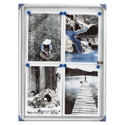Vitrina de anuncios con fondo de metal y puerta abatible nobo pacific de 73x68x2,2 cm.
