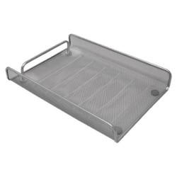 Bandeja portadocumentos de malla metálica 5* mesh en color plata.