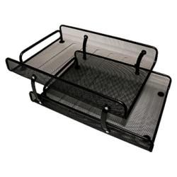 Set de 2 bandejas portadocumentos de malla metálica 5* mesh en color negro.
