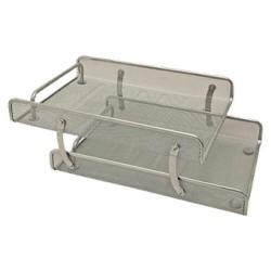 Set de 2 bandejas portadocumentos de malla metálica 5* mesh en color plata.