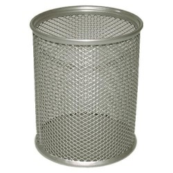 Cubilete portalápices de malla metálica 5* mesh en color plata.