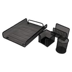 Conjunto de sobremesa 5* mesh compuesto por bandeja, cubilete, portacartas y portanotas en color negro.
