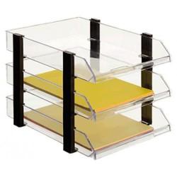 Conjunto de 3 bandejas portadocumentos apiladas archivo 2000 jumborack en color negro/cristal transparente.