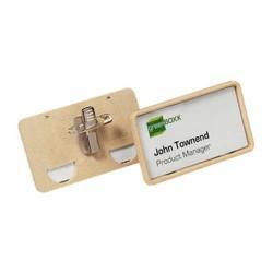 Identificador personal durable clipcard eco de 40x75 mm.