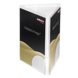 Expositor de sobremesa deflect-o en forma triangular para folletos de din a-6 vertical en cristal transparente.