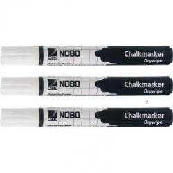 Pack de 3 rotuladores nobo en color blanco para la escritura en la base negra de los caballetes de doble cara nobo a-frame de 10