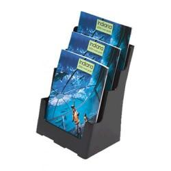 Expositor de sobremesa / mural deflect-o respaldo alto de 3 compartimentos para folletos de din a-4 vertical en color negro.