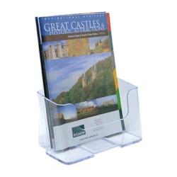 Expositor de sobremesa / mural deflect-o respaldo alto de 1 compartimento para folletos de din a-5 vertical en color cristal tra