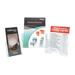 Pack de 5 expositores de sobremesa / mural deflect-o automontables fold-em-up con 1 compartimento para folletos de din a-5 verti