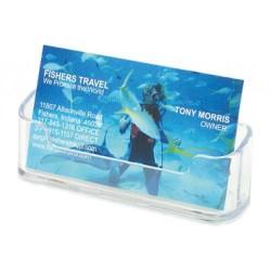 Portatarjetas de sobremesa deflect-o 1 compartimento horizontal en color cristal transparente.