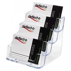 Portatarjetas de sobremesa deflect-o 4 compartimentos verticales en color cristal transparente.