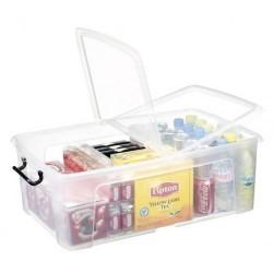 Caja de almacenamiento cep cierre con clip 50 litros en color cristal transparente.