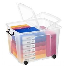 Caja de almacenamiento cep cierre con clip y ruedas 75 litros en color cristal transparente.