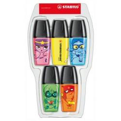 Marcador fluorescente stabilo boss mini heroes en colores surtidos, estuche de 5 uds.