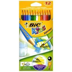 Lápiz de color acuarelable bic kids aquacouleur en colores surtidos, estuche de 12 uds.