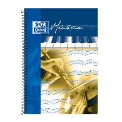 Cuaderno espiral de música oxford en formato folio, 15 pentagramas con interlineado de 2 mm. 20 hj. 90 grs/m².