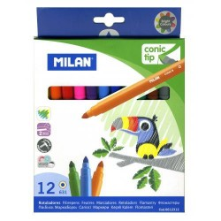 Estuche de rotuladores de color milan conic tip con 12 colores.