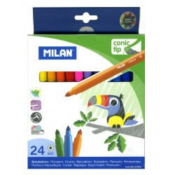 Estuche de rotuladores de color milan conic tip con 24 colores.