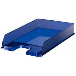 Bandeja portadocumentos esselte europost transparente en color azul oscuro.
