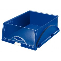 Bandeja portadocumentos leitz sorty con tapa frontal basculante en color azul.