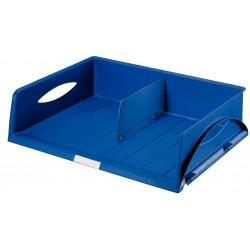 Bandeja portadocumentos leitz sorty jumbo apaisada con 1 separador en color azul.