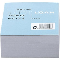Taco de notas encolado loan blanco de 100x100 mm.