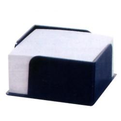 Portanotas cuadrado negro para tacos de notas de 100x100 mm.