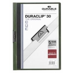 Dossier en pvc con clip duraclip durable en formato din a-4 para 30 hojas en color verde oscuro.