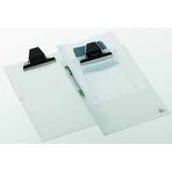 Portablock con pinza buldog carchivo en folio de polipropíleno traslúcido.