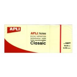 Block de notas QUITA Y PON APLI CLASSIC AMARILLAS de 40x50 mm. pack-3 uds.