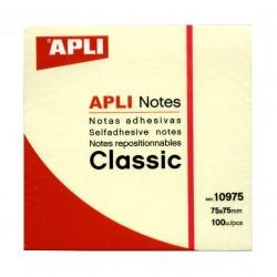 Bloc de notas adhesivas apli classic 75x75 mm. color amarillo.