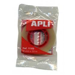 Cinta adhesiva transparente APLI de 33 mts. x 12 mm.