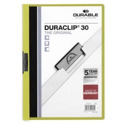 Dossier en pvc con clip duraclip durable en formato din a-4 para 30 hojas en color verde claro.