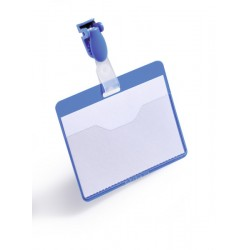 Identificador personal durable con clip de 60x90 mm. en color azul.