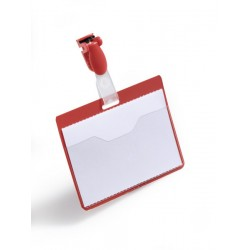 Identificador personal durable con clip de 60x90 mm. en color rojo.