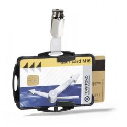 Identificador personal durable doble para tarjetas de seguridad con pinza de 54x85 mm.