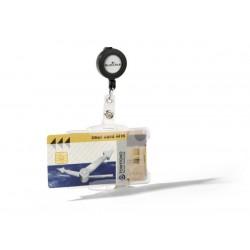 Identificador personal durable doble para tarjetas de seguridad con cordón extensible de 54x85 mm.