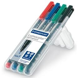 Rotulador permanente staedtler lumocolor 318 f 0,6 mm. colores surtidos, estuche de 4 uds.