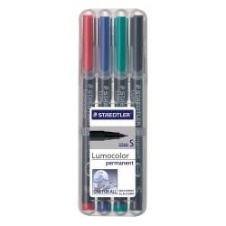 Rotulador permanente staedtler lumocolor 313 s 0,4 mm. colores surtidos, estuche de 4 uds.
