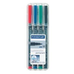 Rotulador permanente staedtler lumocolor 317 m 1,0 mm. en colores surtidos, estuche de 4 uds.