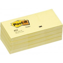 Bloc de notas adhesivas 3m post-it 653 38x51 mm. color canary yellow, pack de 12 blocs.